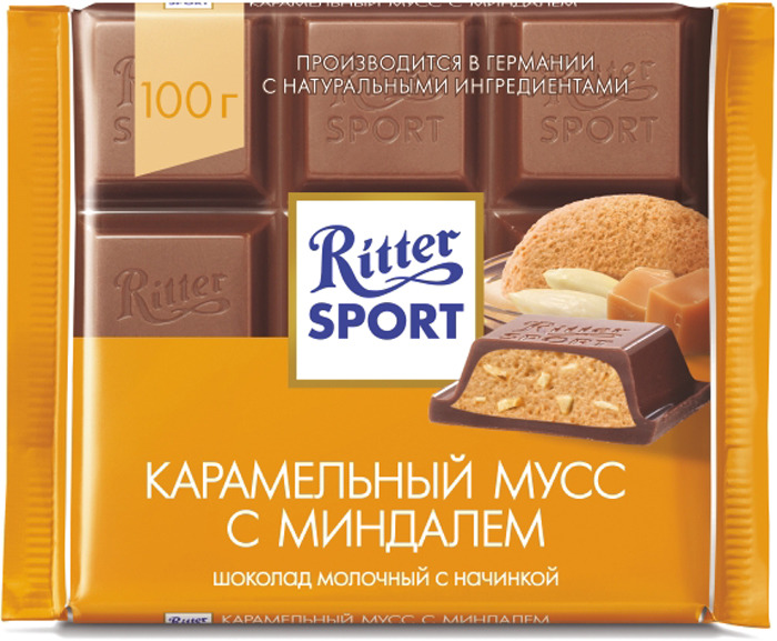 Шоколад молочный Ritter Sport Карамельный мусс с миндалем, 100 г children clothing sets for girls sports suits cotton letter hoodies & shorts 2pcs kids boys outfits summer tracksuits 6 8 10year