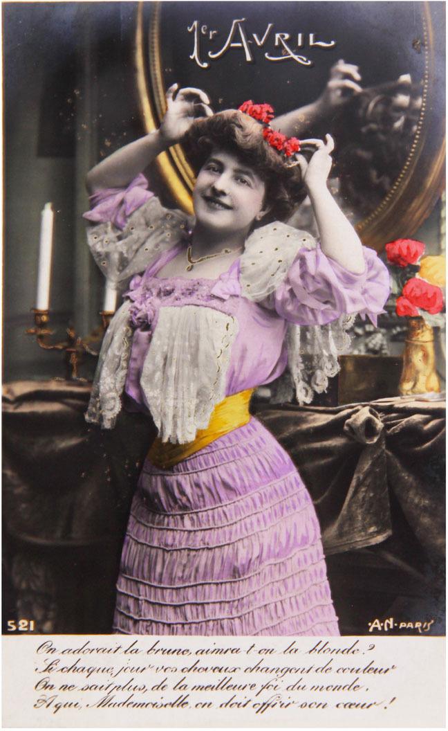 Почтовая открытка. Первое апреля. Колоризированное изображение. Франция, начало XX века hdp8500 prox