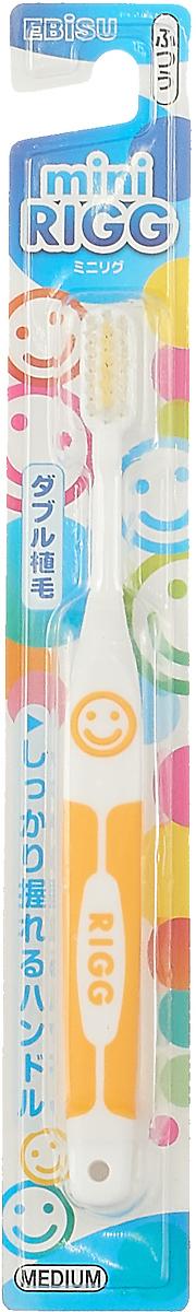 Щетка зубная Ebisu Rigg Hard Mini, цвет: желтый щетка зубная ebisu rigg medium в форме зубцов цвет мятный