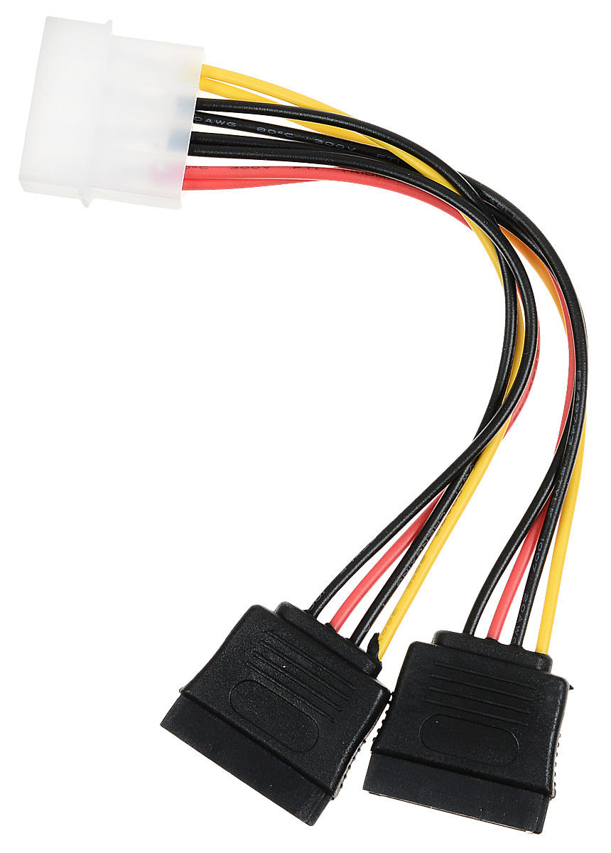 Cablexpert CC-SATA-PSY кабель питания SATA molex 4pin -2x Sata 15pin (0,15 м) кабель питания ningbo molex sata