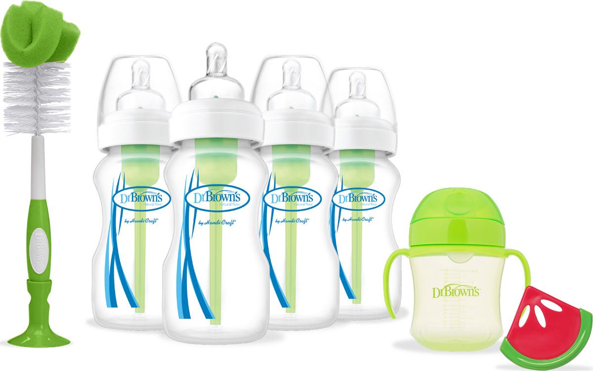 Набор бутылочек Dr. Brown's, цвет: зеленый, 7 предметов. AC072 наборы для кормления dr browns набор из 2 х стандартных бутылочек полипропилен