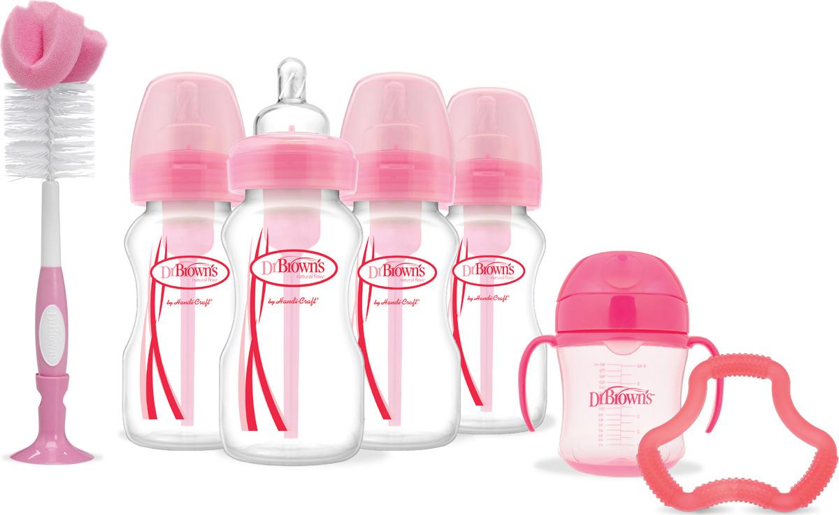Набор бутылочек Dr. Brown's, цвет: розовый, 7 предметов. AC073 поильники bornfree grow with me с мягким носиком 175 мл 2 шт