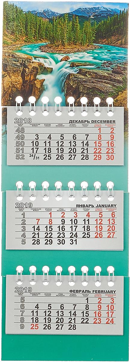 Календарь на спирали микро-трио на 2019 год..Горная река