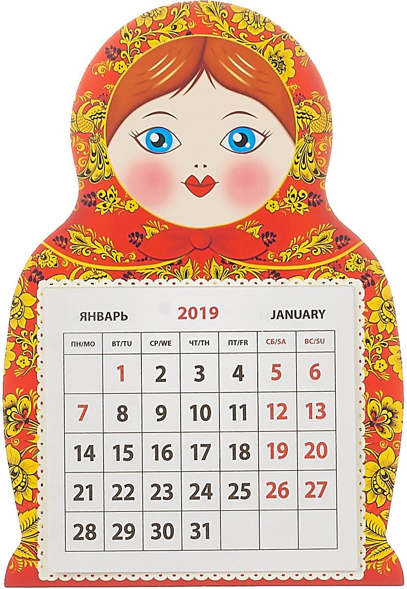 Календарь на магните отрывной  на 2019 год.  Матрешка хохлома.