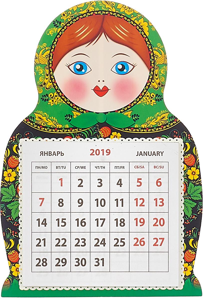 Календарь на магните отрывной  на 2019 год.  Матрешка палех.