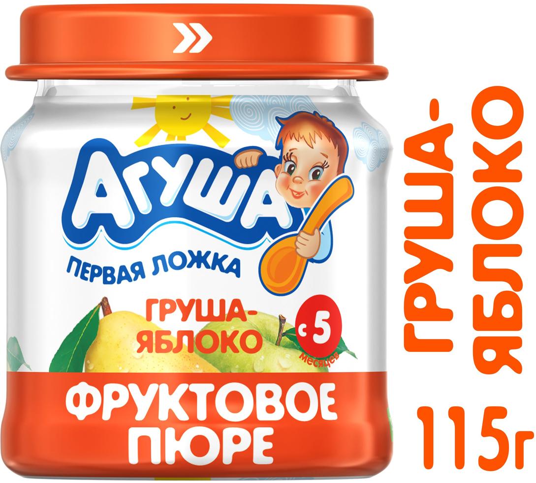 Пюре фруктовое с 4 месяцев Агуша Яблоко-Груша, 115 г пюре агуша фруктовое пюре груша яблоко 115 г
