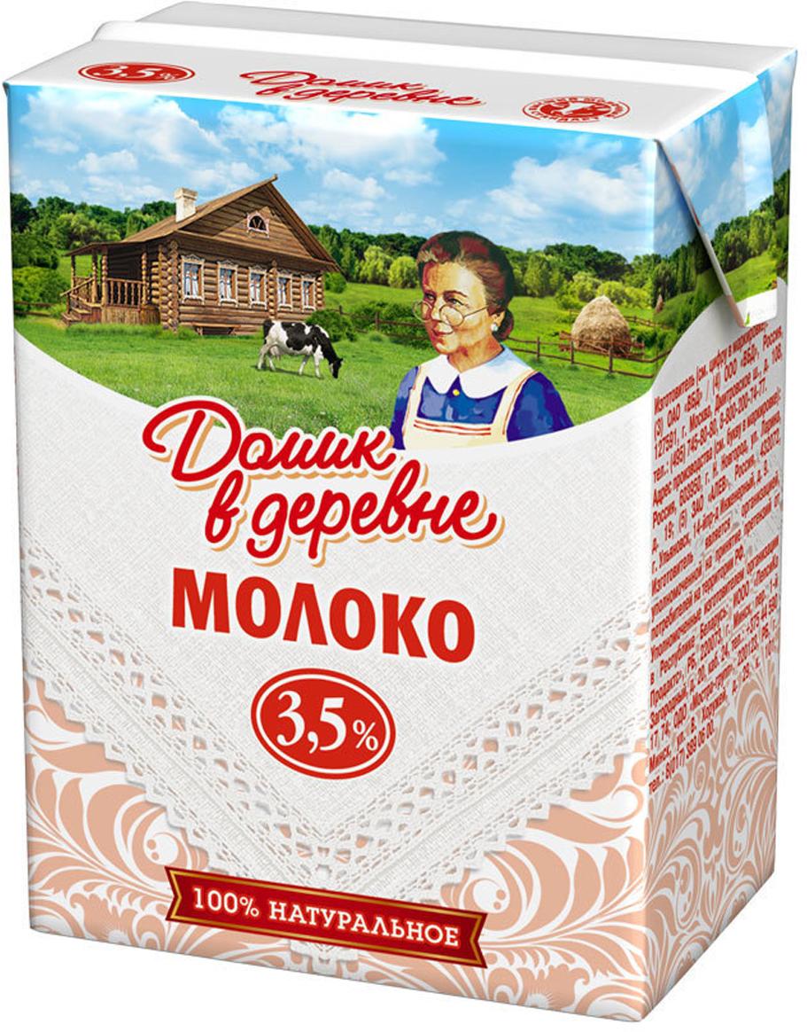 Молоко ультрапастеризованное 3,5% Домик в деревне, 200 мл молочные продукты