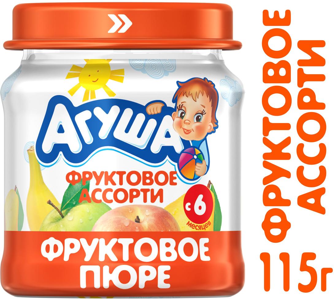 Пюре фруктовое с 6 месяцев Агуша Яблоко-Груша-Банан-Персик, 115 г агуша пюре мясное агуша говядина 6 2