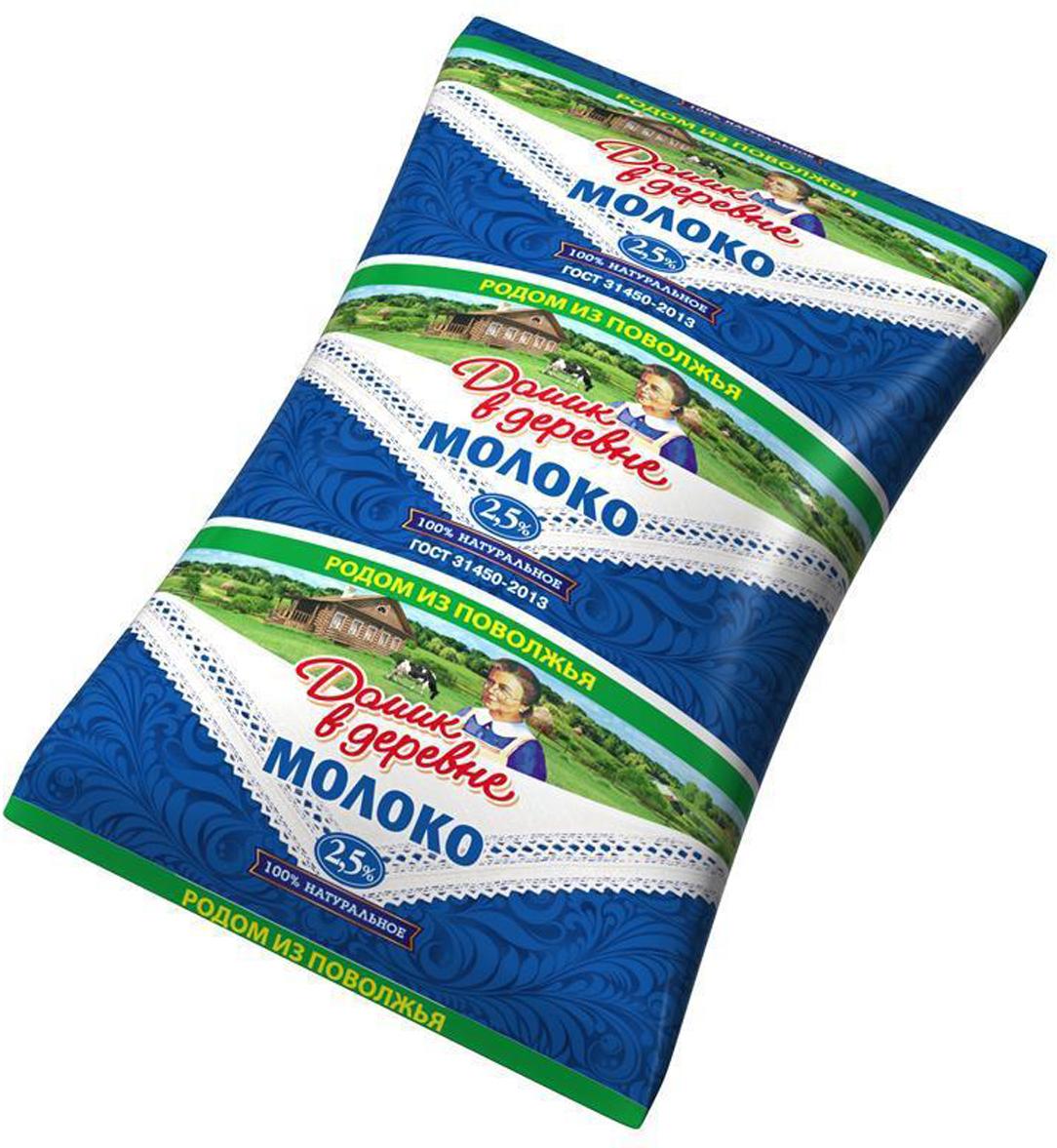 Молоко ультрапастеризованное 2,5% Домик в деревне, 900 г