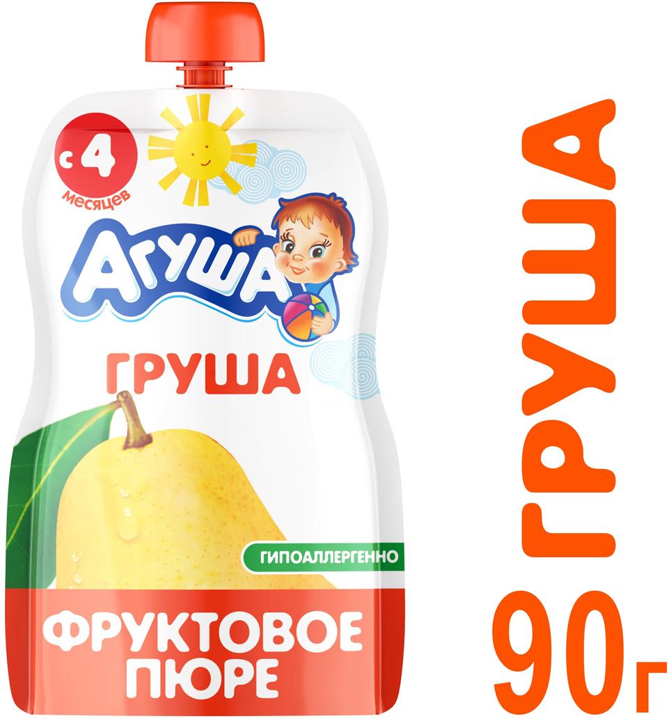 Пюре фруктовое с 4 месяцев Агуша Груша, 90 г йогурт питьевой агуша я сам яблоко и груша 2 7