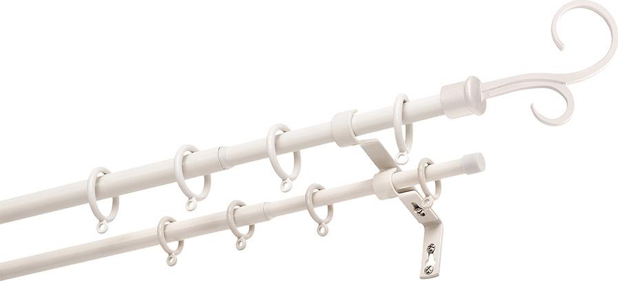 """Карниз двухрядный Уют """"Руно"""", телескопический, цвет: белый, длина 300 см"""