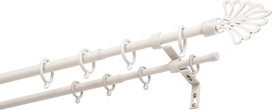 Карниз двухрядный Уют Палмера, телескопический, цвет: белый, длина 210 см decolux карниз артик руны двухрядный стеновой бело золотой 241 см ø1 6 см 44 кольца vcwmndt