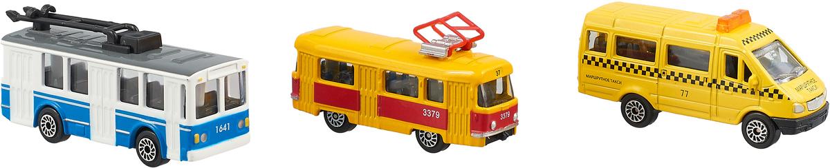 Набор машинок ТехноПарк Городской транспорт, трамвай, маршрутка, троллейбус, 3 шт пластмастер набор машинок малютка 3 шт