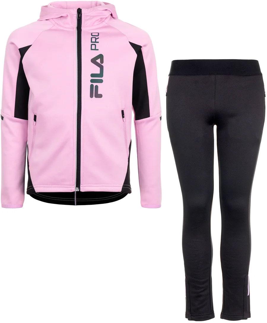 Спортивный костюм для девочки Fila, цвет: черно-розовый. A19AFLSUG02-99. Размер 164 спортивный костюм для девочки adidas yg hood pes ts цвет розовый темно синий bs2151 размер 116