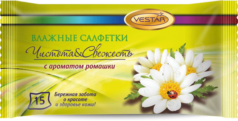 Влажные салфетки Vestar Ромашка, освежающие, 15 шт влажные салфетки vestar авто для салона 20 шт