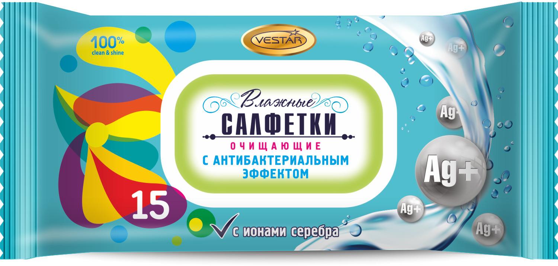 Влажные салфетки Vestar Очищающие, с антибактериальным эффектом, 15 шт влажные салфетки vestar алоэ вера освежающие 15 шт