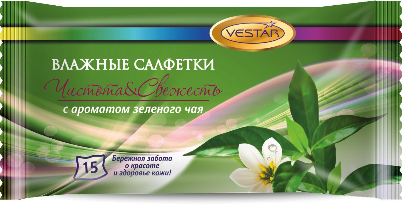 Влажные салфетки Vestar Зеленый чай, освежающие, 15 шт влажные салфетки vestar авто для салона 20 шт