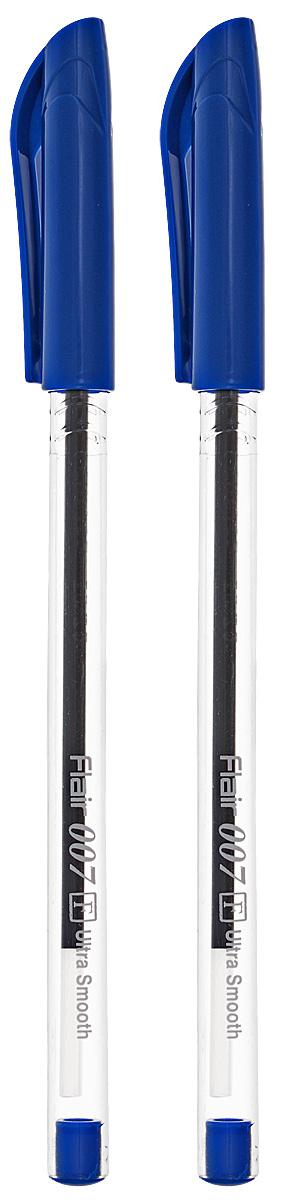 Набор шариковых ручек Flair 007, цвет чернил: синий, 2 шт ручка шарик flair 2 in 1 двусторонняя синий красный