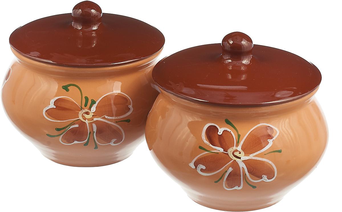 Набор горшочков для запекания Борисовская керамика Стандарт. Цветок, цвет: бежевый, 1,3 л, 2 шт