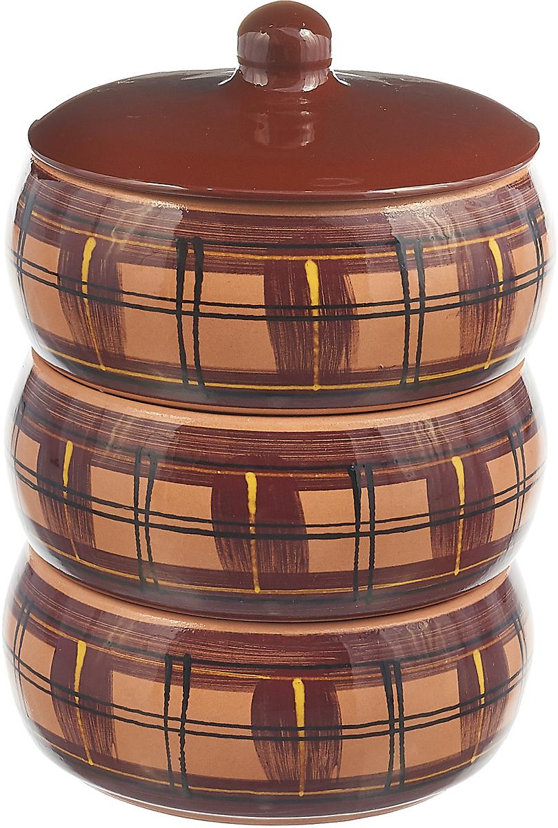 Набор столовой посуды Борисовская керамика Стандарт. Квадраты, цвет: коричневый, 4 предмета, 2,7 л набор столовой посуды борисовская керамика русский 3 предмета 900 мл