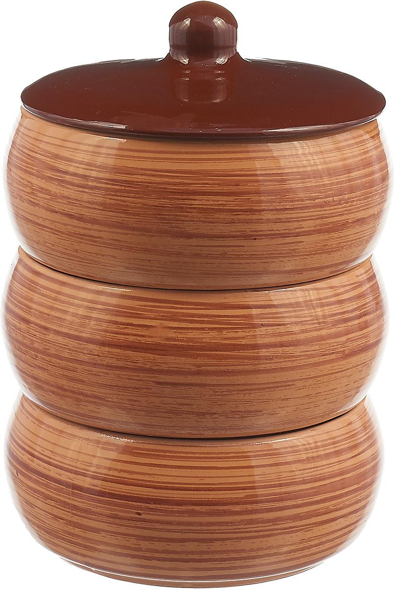 Набор столовой посуды Борисовская керамика Стандарт. Полоска, цвет: коричневый, 4 предмета, 2,7 л набор столовой посуды борисовская керамика русский 3 предмета 900 мл
