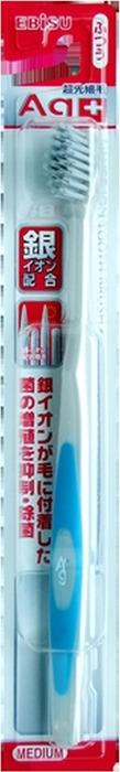 Зубная щетка Ebisu, с ионами серебра, утонченными кончиками и прорезиненной ручкой, средней жесткости гигиена полости рта nip напальчник c ионами серебра