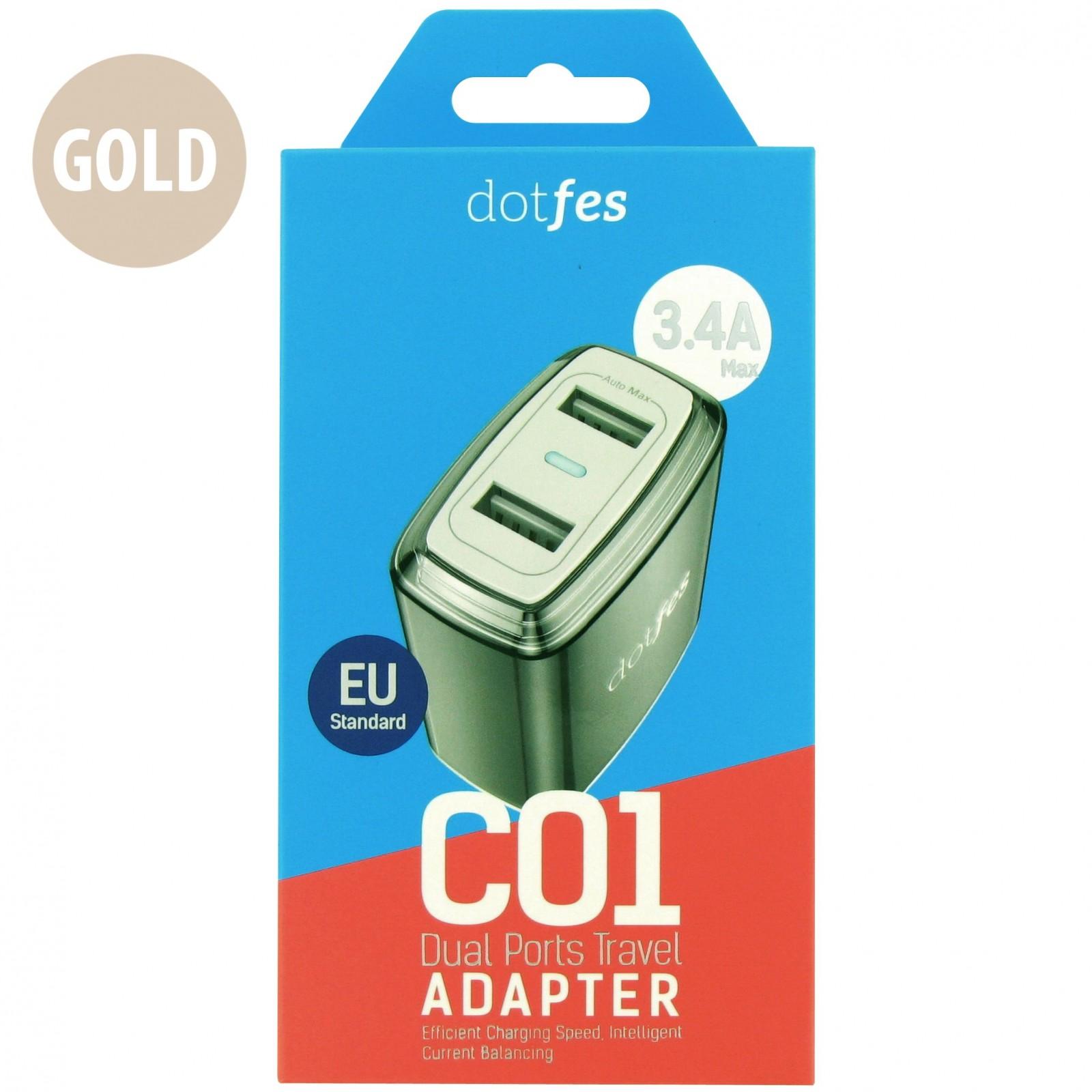 Сетевое зарядное устройство Dotfes C01 2xUSB, 3.4A, Gold зарядное устройство soalr 16800mah usb ipad iphone samsug usb dc 5v computure