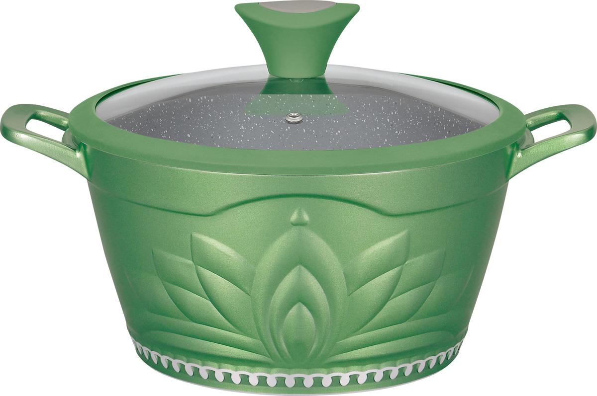 Кастрюля Winner Green Princess с антипригарныи покрытием под мрамор, 4 л кастрюли winner кастрюля 8 л