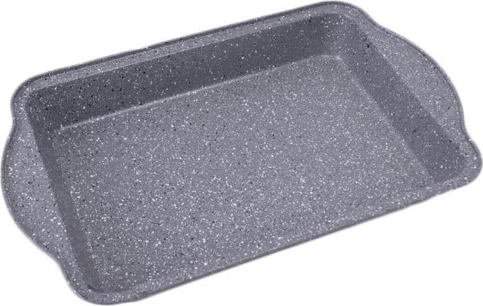 Противень 40,5* 25,2*5см., толщина стенки 0,4мм, внутреннее антипригарное мраморное покрытие, внешнее жаропрочное мраморное покрытие. Подходит для чистки в посудомоечной машине. Состав: углеродистая сталь.