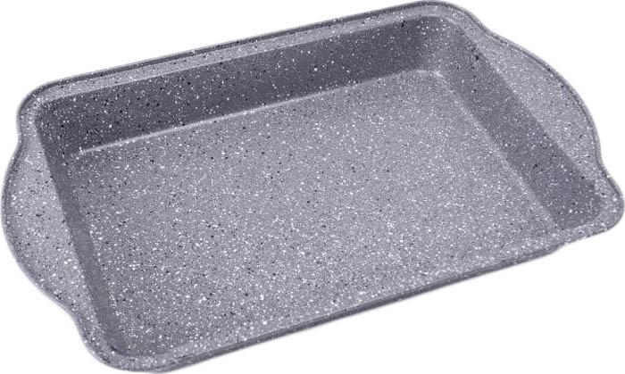 Противень 44*29*5см., толщина стенки 0,4мм, внутреннее антипригарное мраморное покрытие, внешнее жаропрочное мраморное покрытие. Подходит для чистки в посудомоечной машине. Состав: углеродистая сталь.