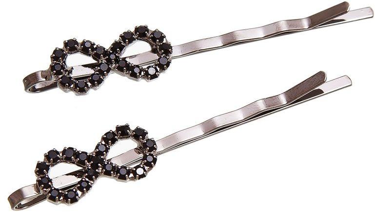 Невидимка Aiyony Macie, цвет: серебряный, черный, 2 шт. H802116 невидимка для волос funny bunny розовые цветы 2 шт