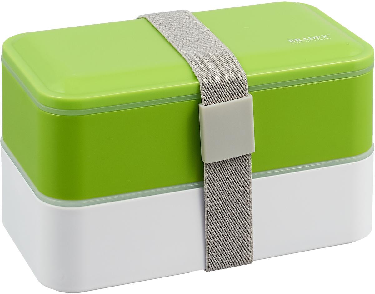 """Забудьте про фастфуд! Теперь домашний обед всегда с собой с ланч-боксом """"Bradex""""! Преимущества: - Компактный и вместительный; - Абсолютно герметичный; - Эластичный ремешок надежно фиксирует контейнеры между собой; - Подходит для разогрева в микроволновой печи и хранения в холодильнике;  - Приборы в комплекте."""