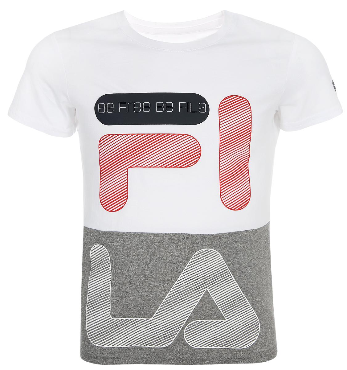 Футболка для мальчика Fila, цвет: белый. A19AFLTSB01-00. Размер 140 футболка для девочки fila цвет белый a19afltsg02 00 размер 164