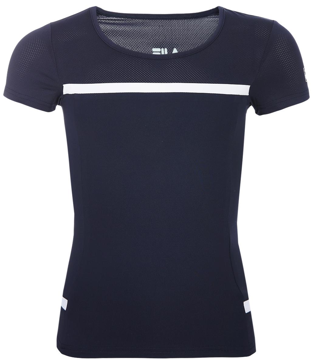Футболка для девочки Fila, цвет: сапфировый. A19AFLTSG04-Z3. Размер 164 футболка для девочки fila цвет белый a19afltsg02 00 размер 164