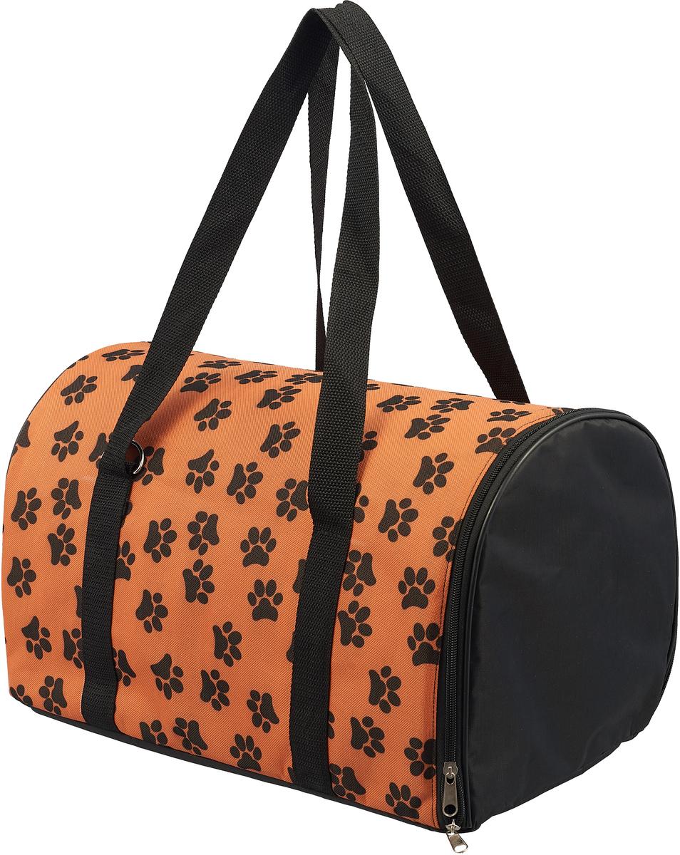 Сумка-переноска для животных Теремок Лапы, цвет: оранжевый, 40 х 23 х 23 см зооник сумка переноска для животных 32 36 47см