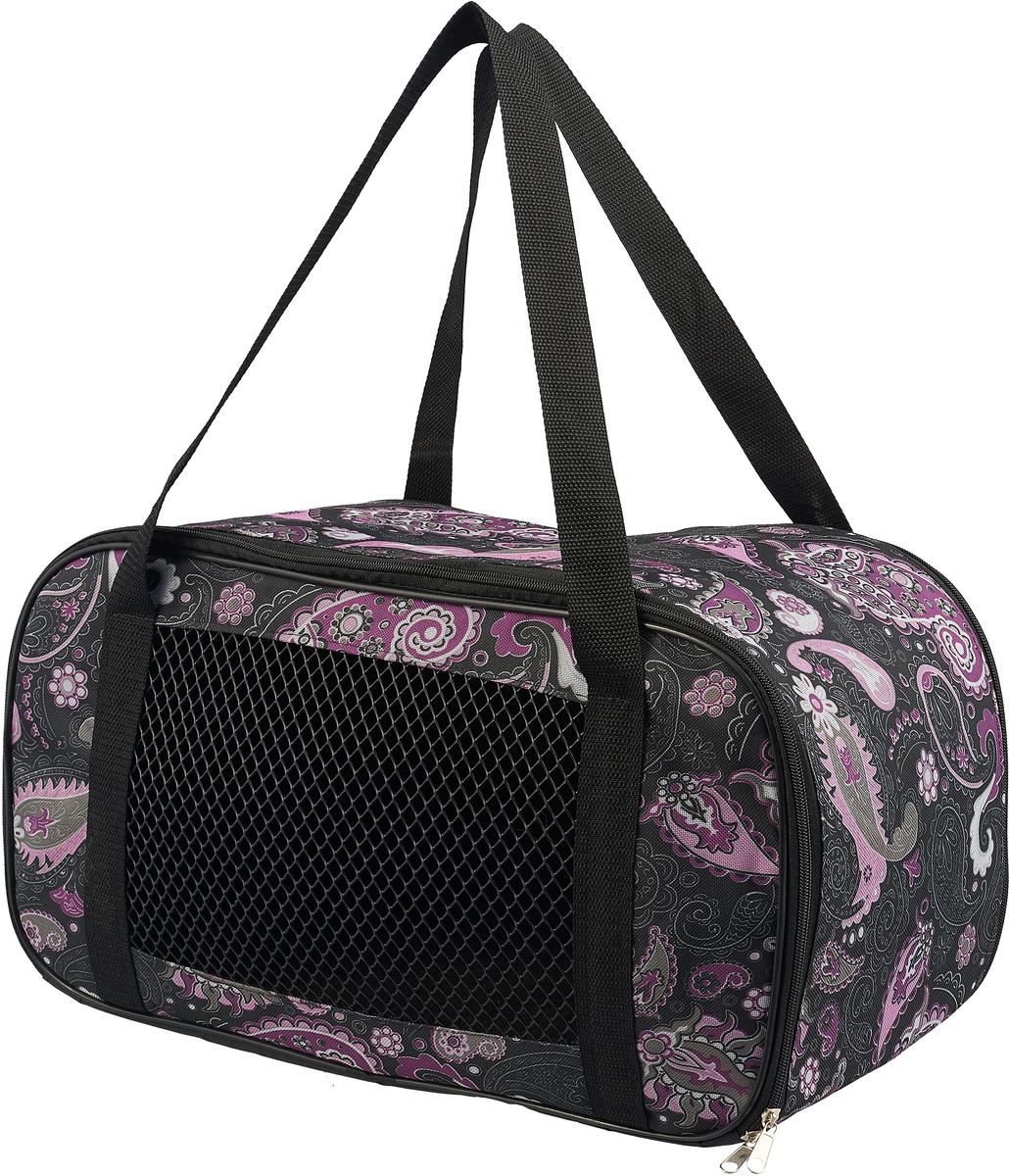 Сумка-переноска для животных Теремок, цвет: фиолетовый, черный, розовый, 47 х 24 х 22 см подушка для животных happy house canvas цвет черный 107 х 70 х 10 см