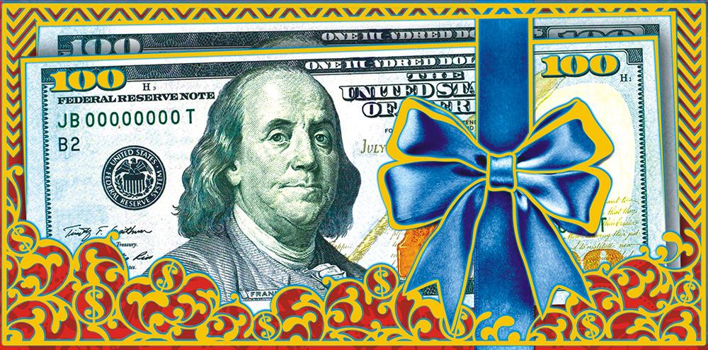 Конверт для денег ЛиС Деньги. Доллары, с фольгой. ФК-045 подарочная коробочка для денег конверт для денег сердечки 43685