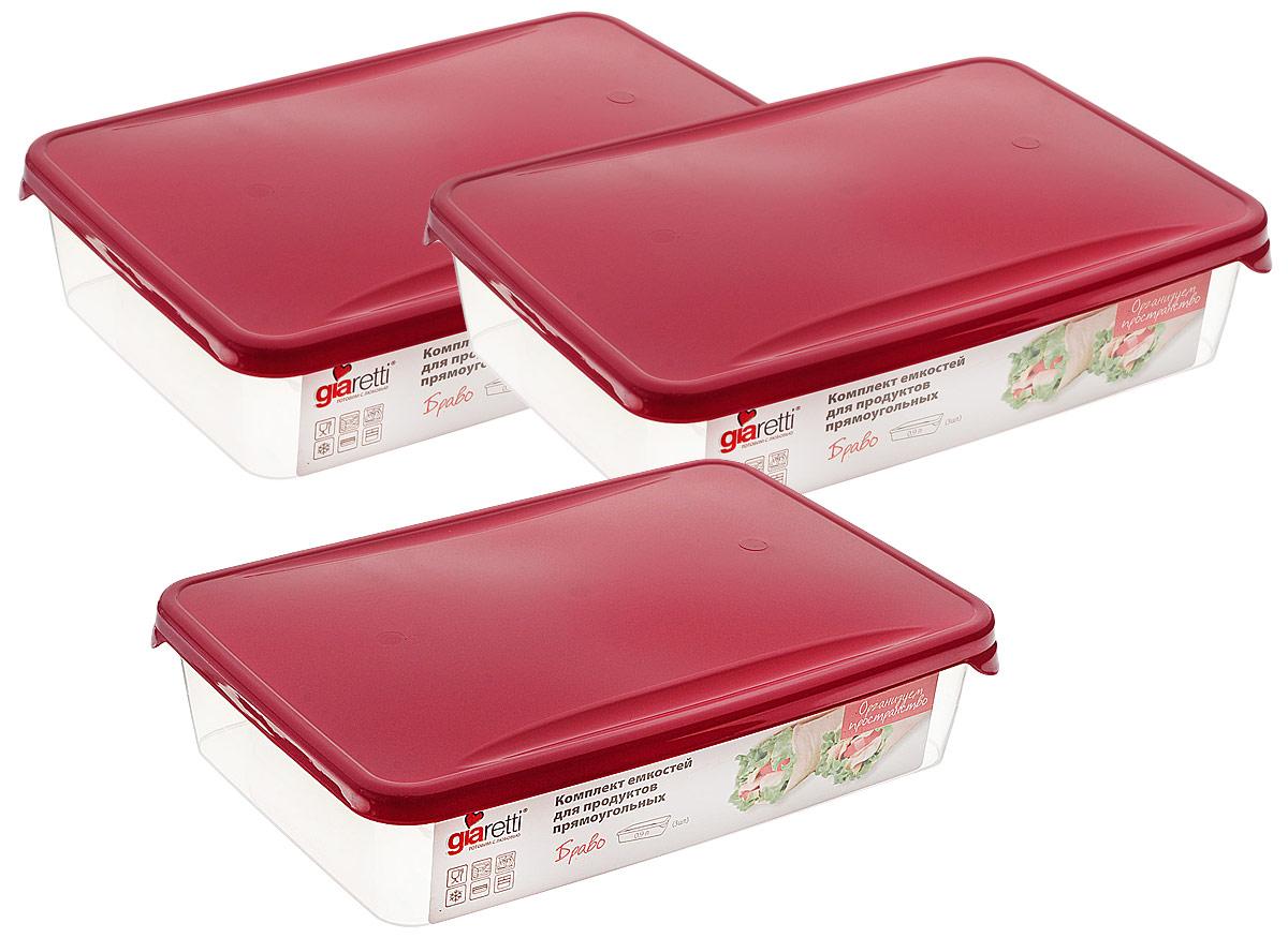 """Комплект емкостей для продуктов Giaretti """"Браво"""", цвет: прозрачный, малиновый, 900 мл, 3 шт"""