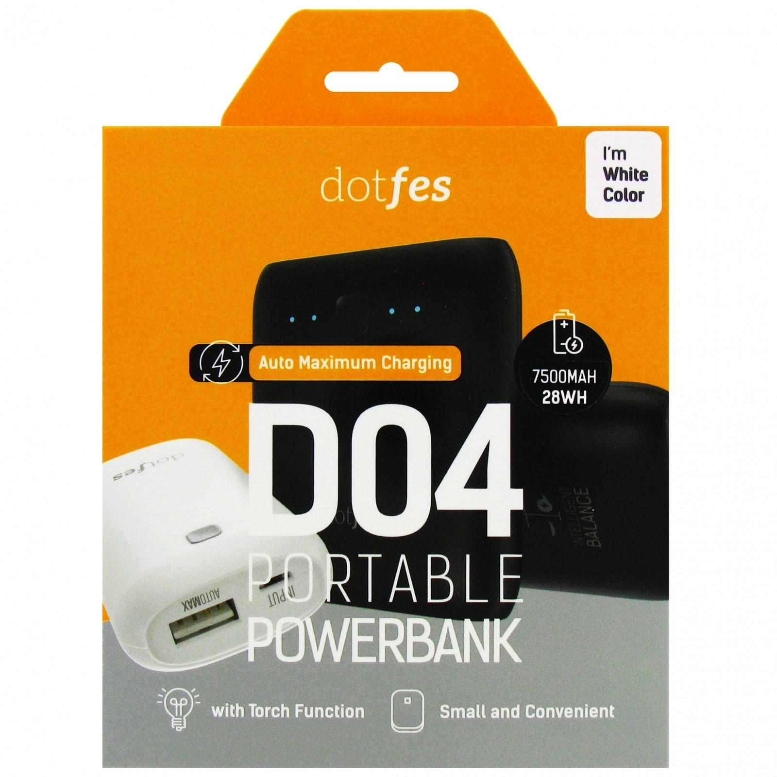 Аккумулятор внешний резервный Dotfes D04-7 7500mAh AutoMax, два USB выхода 1А / 2,1A + фонарик, white