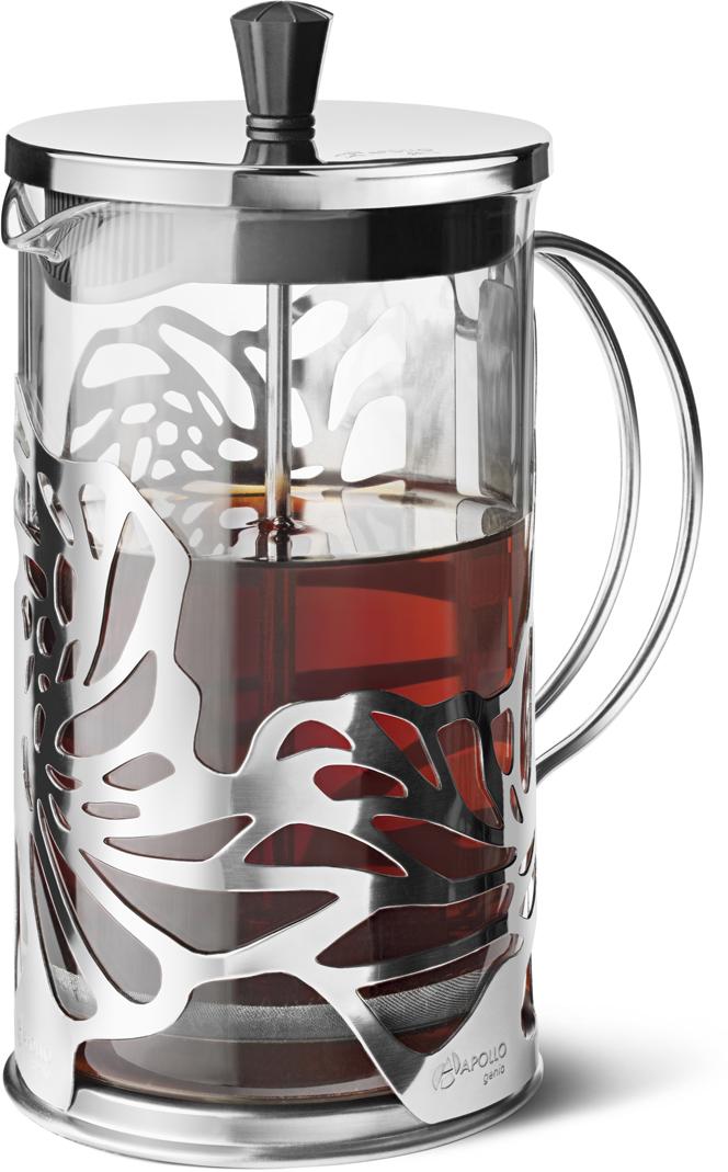 Френч-пресс для заваривания чая и кофе Apollo Genio Cite Silver, цвет: серебристый, 600 мл