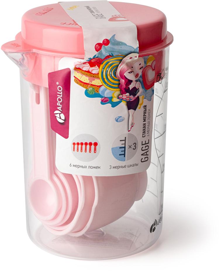 Стакан мерный Apollo Gage, с 6 мерными ложками, цвет: розовый, 500 мл m10 x 1 5 left hand thread ring gage
