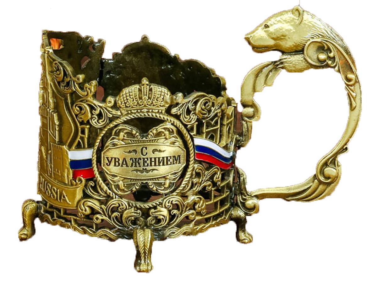 """Подстаканник """"С Уважением! Кремль"""",11,4 х 9,3 см. 2690794, NoName"""
