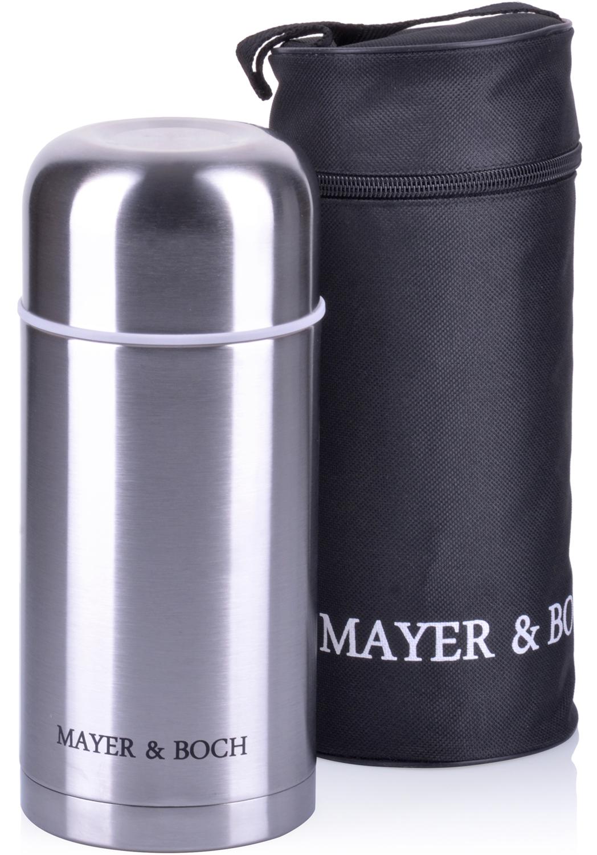 Термос Mayer & Boch, с чехлом, цвет: серебристый, объем 1 л термос 1 5 л mayer