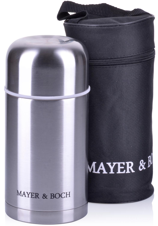 Термос с чехлом Mayer & Boch выполнен из качественной нержавеющей стали, которая не вступает в реакцию с содержимым термоса и не изменяет вкусовых качеств напитка. Двойная стенка из нержавеющей стали сохраняет температуру на срок до 6-ти часов. Вакуумный закручивающийся клапан предохраняет от проливаний. Данная модель термоса прочная, долговечная и в тоже время легкая. Стильный металлический термос понравится абсолютно всем и впишется в любой интерьер кухни. Легко и просто моется.