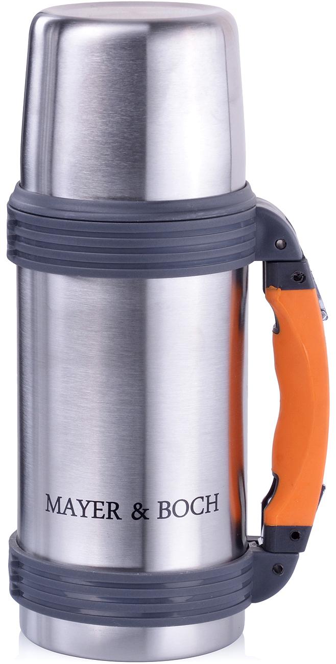 Термос Mayer & Boch выполнен из качественной нержавеющей стали (CrNi 18/10), которая не вступает в реакцию с содержимым термоса и не изменяет вкусовых качеств напитка. Двойная стенка из нержавеющей стали сохраняет температуру на более длительный срок. Вакуумный закручивающийся клапан предохраняет от проливаний, а удобная кнопка-дозатор избавит от необходимости каждый раз откручивать крышку. Крышку можно использовать как чашку. Благодаря большой раздвижной ручке из полипропилена он очень удобен в переноске. Данная модель термоса прочная, долговечная и небьющаяся. Прочный и надежный термос станет незаменимым помощником для рыболовов, охотников, а так же его оценят путешественники и туристы. Легко и просто моется.