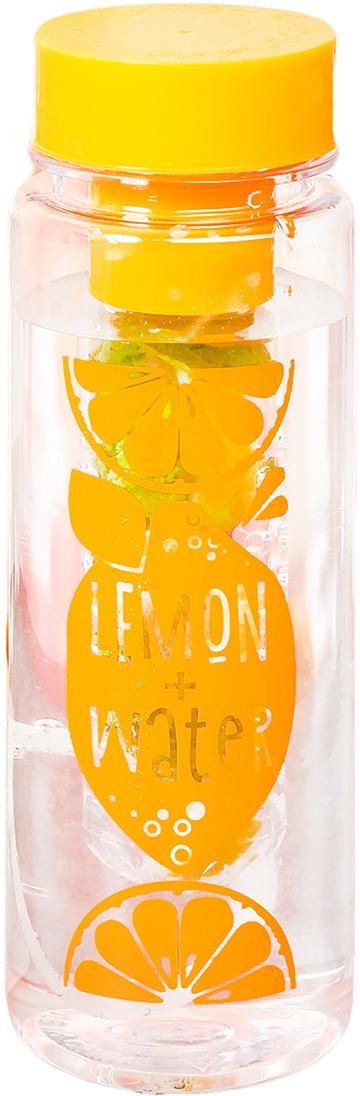 Бутылка для воды Командор Лимон + Вода, цвет: прозрачный, желтый, 500 мл gipfel бутылка для воды recycle 500 мл оранжевая