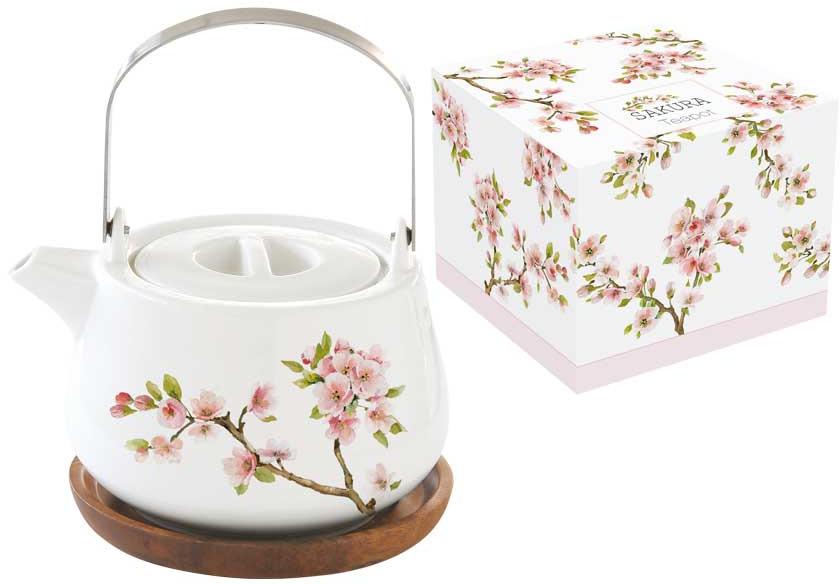 Чайник заварочный Easy Life Японская сакура, цвет: розовый, 750 мл. EL-R1089/SAKU r2s