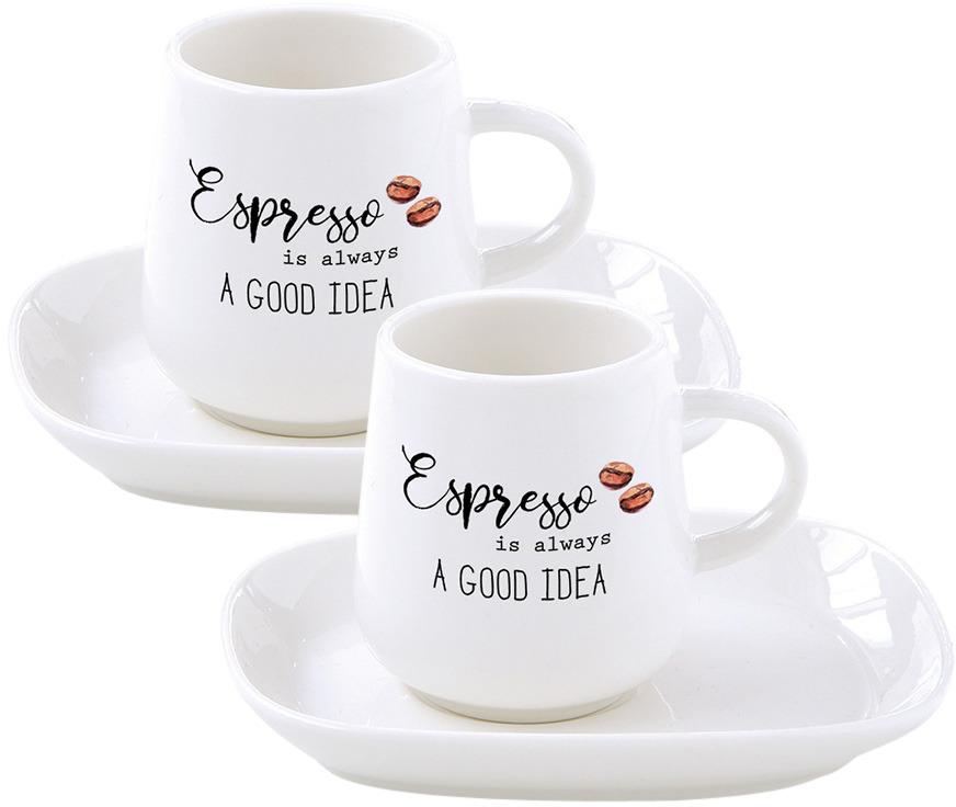 Набор кофейный Easy Life Kitchen Elements: чашка, 100 мл, 2 шт + блюдце, 2 шт. EL-R1905/KITE