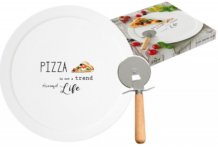 Набор для пиццы Easy Life Kitchen Elements: блюдо, диаметр 36 см + нож. EL-R1919/KITE r2s