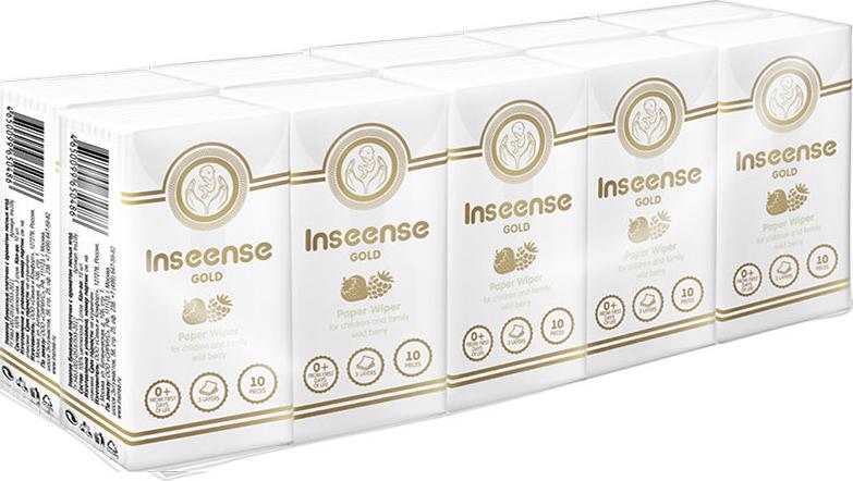 Платочки бумажные Inseense, трехслойные, с ароматом лесных ягод, 10 шт палочки ватные inseense для детской гигиены с ограничителями 50 шт